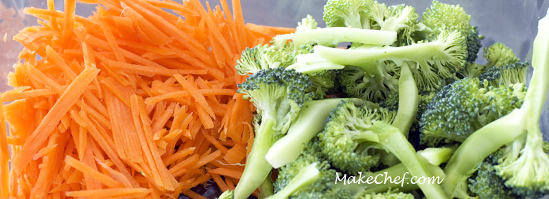 Shredded carrot and brocolli cut into small pieces