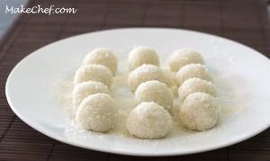 coat ball into coconut powder